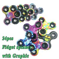 Big Kids sparkle hands - In bulk Camouflage Fidget toy Spinner Camo sparkle fidget hand spinner Toys EDC Graphic pattern triangle gyro ABS Plastic spinners