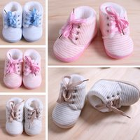 Wholesale First Quality Furs - DHL FREE wholesale 50 pairs high quality baby shoes soft fur warm winter baby first walkers striped toddler cotton shoes