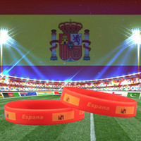 Wholesale red flag design - Spain National Flag Design Bracelets Espana Football World Cup 100% Silicone Gel Wristband Gym Fitness Energy Bracelets