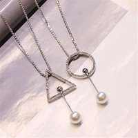 Wholesale Necklace Triangular - South Korea long sweater chain necklace jewelry triangular geometrical female Korean jewelry accessories accessories pendant necklace