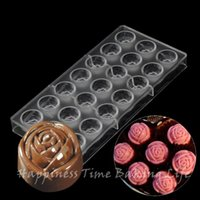Wholesale 2 x1 cm cups Rose Flower Chocolate Clear Polycarbonate Plastic Mold DIY Handmade Chocolate PC Mold Chocolate Tools Baking Pastry Tools