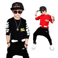 erkek harem hip hop toptan satış-Bibihou Kız Giyim Setleri Bebek Erkek Bebek Spor Seti Çocuk Üst + Harem pantolon Suit Set Toddler Çizgili Eşofman Giysileri Hip hop