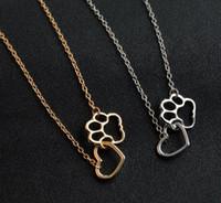 aşk kalp pili toptan satış-Kadınlar Moda Pet Lover Köpek Kedi Pençesi kolye Aşk Kalp Altın / Gümüş gerdanlık Yaka Basit Bildirimi kolye yazdır