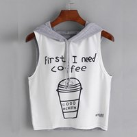 Wholesale Sexy Girls Tee - Fashion Women Sexy Crop Tanks Tops 2017 new Summer Girls Coffee Print Hooded Sleeveless Kawaii Tee sport casual holiday Shirt vetement femme