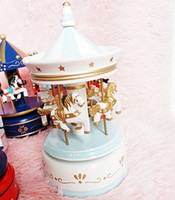 Wholesale Carousel Music Box Wooden - New Wooden Merry-Go-Round Carousel Music Box For Children Gift Wedding Toy