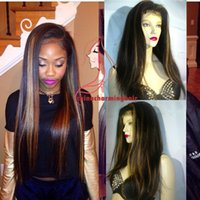 Wholesale Highlighted Human Lace Front Wigs - Full Lace Wig Highlight 1B 27 silky straight Human Hair Lace Front Wigs highlight color