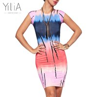 Wholesale Yilia Party Club Mini Bodycon Dress Women Casual Tie Dyed Gradient Colorful Personality Print Short Sleeve Vestidos