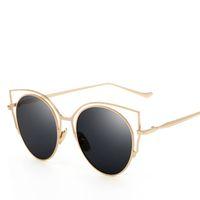 Wholesale Cat Ear Glasses - New Unisex Sunglasses Hot New Season Full Metal Frame Glasses Cat Ears Beach Outdoor UV Sunshades