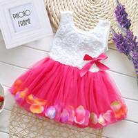 Wholesale Dress Ruffle Hem - 2017 summer new girl beautiful super cents flower color petal hem sleeveless dress skirt
