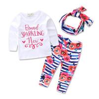 Wholesale 95 Cartoon - KTO28 NEW HOT Ins Kid Clothing Sets 95%Cotton Long Sleeve cartoon Flowers Print Kids Baby Sets summer girl t shirt+ pant + hairband 2 colors