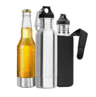 Wholesale Wholesale Beer Holders - 3pcs set 12oz Beer Bottle keeper Cooler Insulator Stainless Steel Bottled Beer Armour Holder with kayring bottle opener and insulated bag