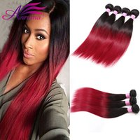 Ombre Hair Extensions Cheveux humains brésiliens Straight Two Tone Weft 1B BG Red Brazilian Straight Hair 3 Bundles