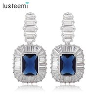 Wholesale mexican stocks - Russia High Quality Luxury Heavy Bridal Earrings Fashion Brass CZ Lady Jewelry Wholesale In Stock Women Christmas Gift LUOTEEMI