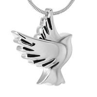 Wholesale urn funeral - IJD9496 Peace Dove Stainless Steel Cremation Pendant Necklace Memory Funeral Casket Ashes Keepsake Urn Necklace