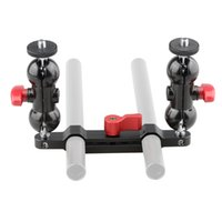 Wholesale Dslr Rod Clamp - CAMVATE 360°Swivel Ball Head Mount with 15mm Rod Clamp Railblock on Both Ends