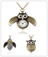 Wholesale Cute Owl Pendant Watch - Wholesale-Pocket Watch Alloy Cute Open Close Wing Owl Pendant Necklace Quartz With Iron Chains And Lobster Claw Clasps, Antique Bronze
