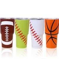 Wholesale Low Price Basketball Wholesale - Lowest Price!!5 Designs 30OZ Baseball Softball Basketball American Football Tumbler Cup Vacuum Insulated Beer Mug Stainless Steel Mug 100pcs