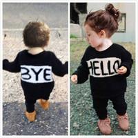camisas casuais pretas para meninos venda por atacado-Roupa criança luxo menina meninos roupa do bebê roupa preta Set infantil Algodão Treino manga comprida Camisa de esporte Tops Legging Calças Outono