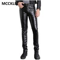 pantalon en cuir pour hommes maigre achat en gros de-Pantalon en similicuir PU gros-Super Skinny Hommes Matériel Noir Slim Fit Moto Pantalon en cuir pour Homme P015