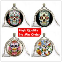 Wholesale Thanksgiving Skull Glasses - 9 style Sugar Skull Pictures Glass Cabochon Dome necklace Rose,Lock,Flower Giant Cutout Sugar Skulls Pendant free shipping NS043