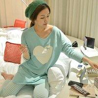 mulheres conjuntos de pijama de inverno venda por atacado-Atacado- 2017 conjuntos de pijama das mulheres outono e inverno manga comprida femme pijama mujer homewear M L XL XXL casa terno Plus Size pijama