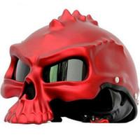 Wholesale Helmet Half Dot - Wholesale- (1pc&7colors) DOT Approval Masei CG489 Brand Motorbike Half Face Skull Helmet Motorcycle Helmets Capacetes Casco Retro Casque