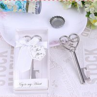 Wholesale Victorian Keys - Key to My Heart Simply Elegant victorian wine bottle opener Barware Tool wedding Party favor gift Silver With White Retail Box F2017162