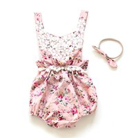 Wholesale Candy Girls Clothing - Everweekend Baby Girls Floral Lace Rompers with Headbands Candy Color Halter Sweet Children Fashion Summer Clothing