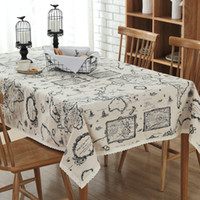 Wholesale Wholesale Printed Table Linens - Table Cloth Cotton Linen Table Runners Map Printing Customized Home European Simple Lace Tablecloths Hot Selling Wholesale Table Covers