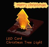 Wholesale Led Greeting - LED Card Creative Christmas Cards Thin Card Light LED Christmas Tree Flashing Gifts Greeting Cards Folding Pocket Card LED Light KKA3030