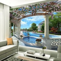Бесплатная доставка 3D Stereo Custom European Garden Landscape Painting Wallpaper Living Room Bedroom Sofa Wallpaper Mural