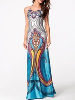 Wholesale Digital Print Dresses - 2017 Hot digital printing harness skirt dress plus size summer dresses sexy dresses for women halter maxi dresses women clothes 1612#