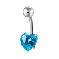 Vente en gros 5Colors disponibles AAA + Cubic Zirconia CZ Cute Heart Ball Piercing Anneau de nombril Bague à ventre Bague de mode