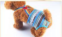 Wholesale Pet Stripe Pants - Female Pet Dog Physiological Underwears Diaper Jumpsuits Pants Clothes For Fashion Cotton Stripe Tighten Suspender Sanitary Briefs Pants