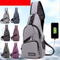 sacos saco grande venda por atacado-Homens USB Saco Peito Sling bag Grande Capacidade Bolsa Crossbody Sacos de Ombro Saco de Carregador Messenger Bags 6 Cores OOA3309