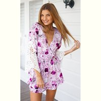 Wholesale Womens Short Loose Dress - Womens Rompers Jumpsuits Sale Europe Trade Hot New Lace Stitching Printing V Collar Jumpsuit Dress