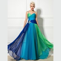 Wholesale Green Pleated Prom Dress Wholesale - 2017 Long Blue And Green Sheath Prom Dresses Sweetheart Chiffon Crystal Sashes Spaghetti Strap Sleeveless Pleats Floor Length Cocktail Dress