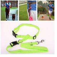 Strong Nylon mão livre Dog Leash Pet leva para Running Jogging Caminhada Walking 6 cores WA1877