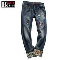 Wholesale Male Jeans Korean New - Wholesale-Big Guy Store Slim Fit Ripped Male Jeans Trouser 2015 New Fashion Spring Plus Size Hip Hop Style Korean Men Jeans 431jeans0981