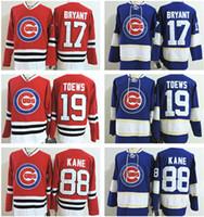 Wholesale Cubs Blue Jersey - Newest Chicago Blackhawks+Cubs hockey jersey 19 Jonathan Toews 88 Patrick Kane 17 Kris Bryant 2017 anniversary winter classic jersey