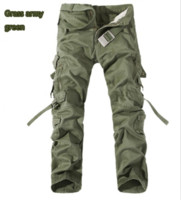 Wholesale Cargo Pants Capris Men - Wholesale-Tactical Men Loose Cargo Commando Style Full Length Trousers Plus Size Multi-Pocket Overall Washed Cotton Men Casual Trousers