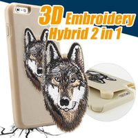 Wholesale Embroidery Cases Iphone - 2017 Newest 3D Embroidery Case Shockproof Dual Layer Hybrid Rugged TPU PC Cover Cases For Samsung S8 s8plus iPhone 6 6S 7 Puls