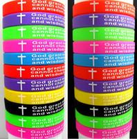 bilezik çapraz inceliği toptan satış-100 adet Üst MIX Serenity Namaz bilezikler İncil Çapraz Renk Bileklikler toptan Hıristiyan İsa Takı Lots