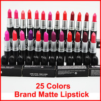 Wholesale cosmetic m - Factory Sale !High quality Makeup M Brand matte lipstick Cosmetics 25 colors Batom Fosco Rouge lipstick Luster Frost Lipsticks Free DHL