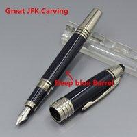 Wholesale Steel Fountain - great John Kennedy Classic Dark blue JFK Fountain pen with Luxury stationery school office supplies MT brand writing ink pen gifts