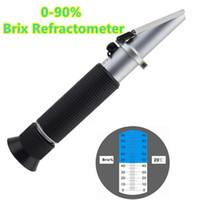 Wholesale Refractometer Liquid - NEW Handheld 0-90% Brix Refractometer for sugar content fruit juice liquids tester accuracy Brix measurement instrument