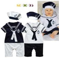 Wholesale Newborn White Bodysuit - Kids Baby Boys Sailor Bodysuit Romper + Hat Set Newborn Summer Clothes Outfits