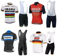 Wholesale Giant Bike Jersey Set - 2017 Cycling Jersey Short Sleeve Summer Men Cycling Clothing+ Cycling Bib Shorts Set Maillot ORBEA Giant  lOTTO BAHRAIN Bike Clothes sets