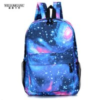 Wholesale Mini Pocket Book - Wholesale- WILIAMGANU 2017 Trendy Women Stars Universe Space Printing Backpack School Book Backpacks Stars Bag