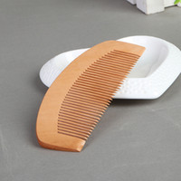 Wholesale Anti Static Hair Brush - Natural peach Wood Comb Close Teeth Anti-static Head Massage hair care Wooden